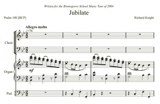 Jubilate in Bb for SATB choir and organ